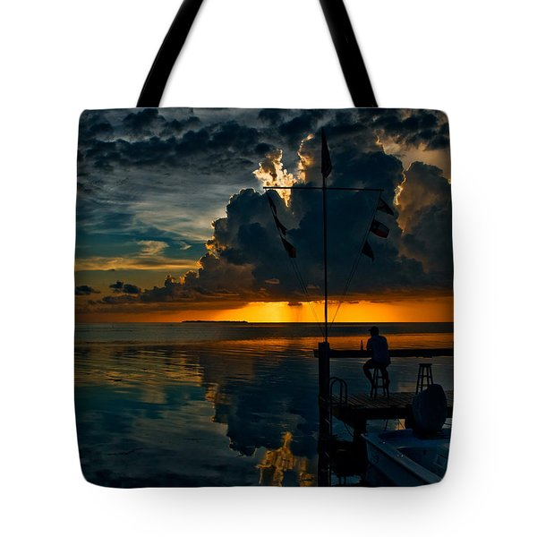 Sunset Tropical Storm And Watcher In Florida Keys Tote Bag