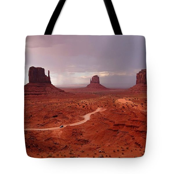 Storms Moving Through Monument Valley Tote Bag
