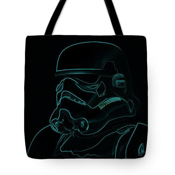 Stormtrooper In Teal Tote Bag by Chris Thomas