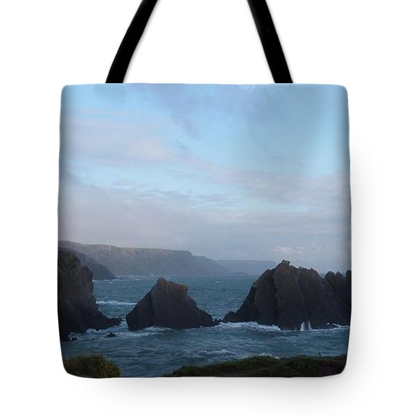 Hartland Quay Storm Tote Bag by Richard Brookes