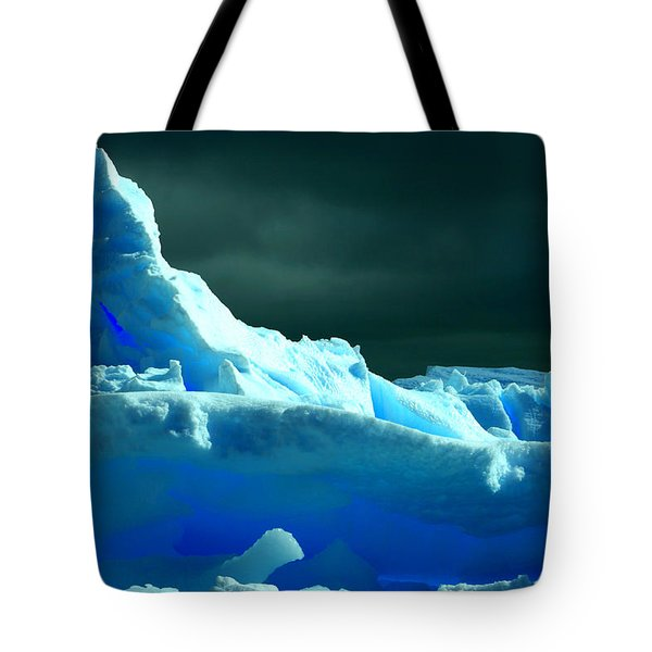 Tote Bag featuring the photograph Stormy Icebergs by Amanda Stadther