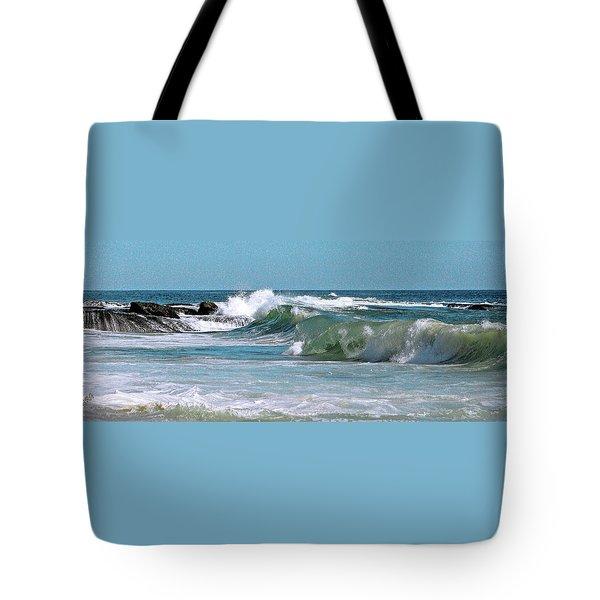 Stormy Lagune - Blue Seascape Tote Bag by Ben and Raisa Gertsberg