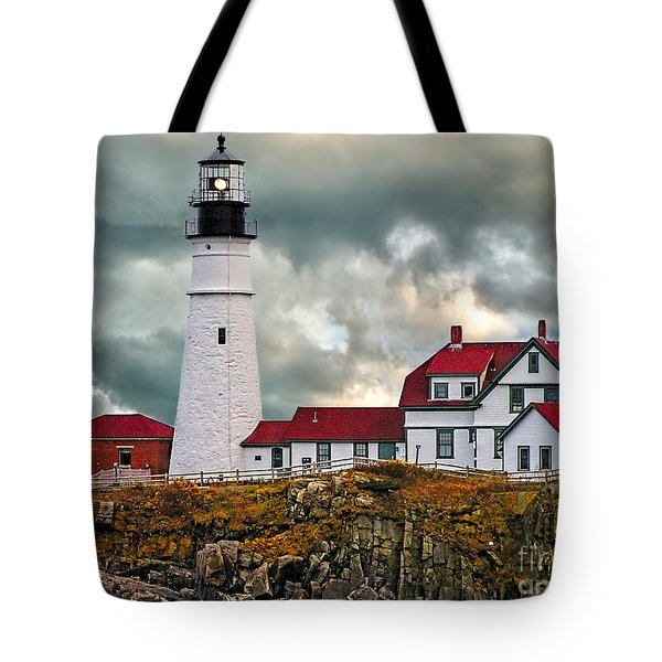 Stormy Portland Head Light Tote Bag
