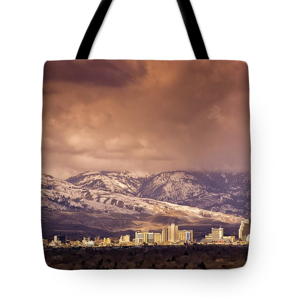Stormy Reno Sunrise Tote Bag by Janis Knight