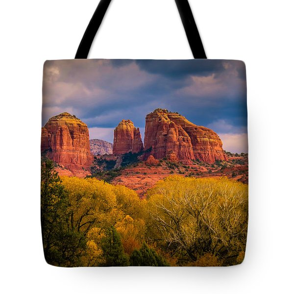 Stormy Skies Over Cathedral Rock Tote Bag