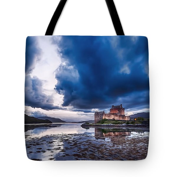 Stormy Skies Over Eilean Donan Castle Tote Bag