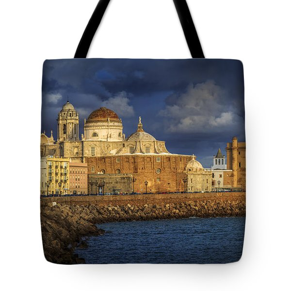 Stormy Skies Over The Cathedral Cadiz Spain Tote Bag