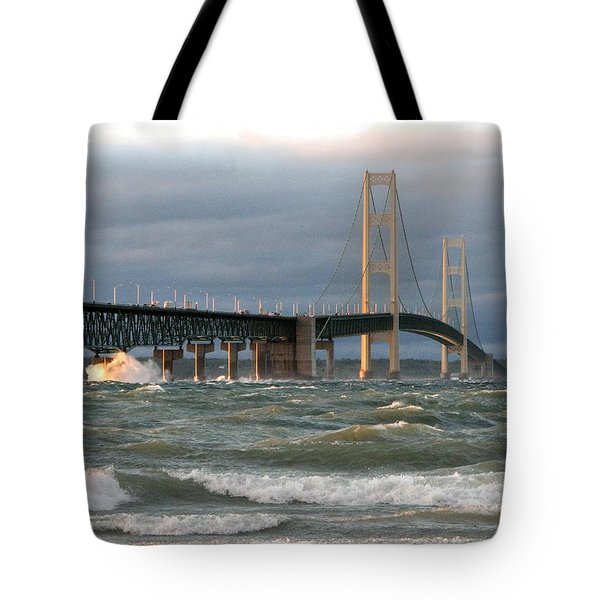 Stormy Straits Of Mackinac Tote Bag