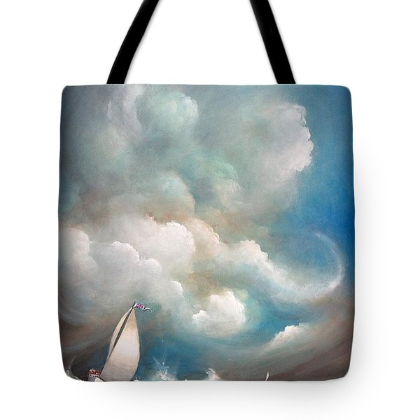 Tote Bag featuring the painting Stormy Sunday by S G