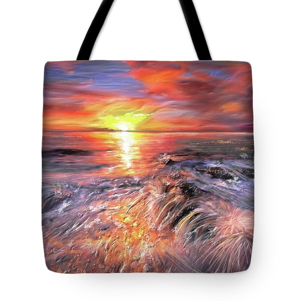 Stormy Sunset At Water's Edge Tote Bag by Angela A Stanton