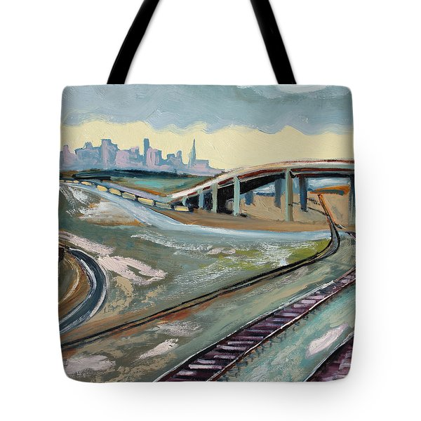 Stormy Train Tracks And San Francisco  Tote Bag