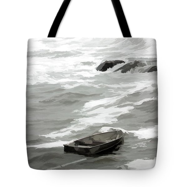 Tote Bag featuring the photograph Stormy Waves Pound The Shoreline by Jeff Folger