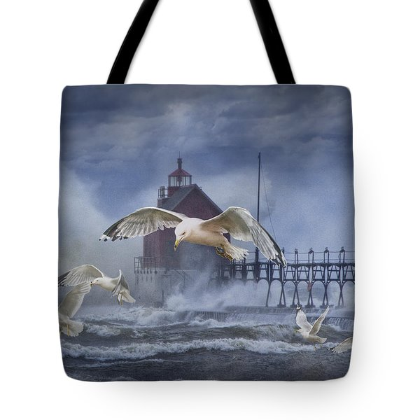 Stormy Weather At The Grand Haven Lighthouse Tote Bag by Randall Nyhof