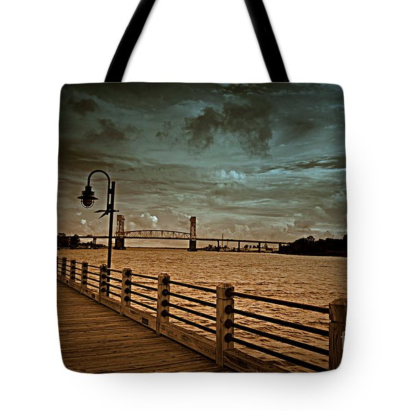 Stormy Wilmington Riverwalk  Tote Bag
