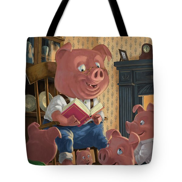 Story Telling Pig With Family Tote Bag by Martin Davey
