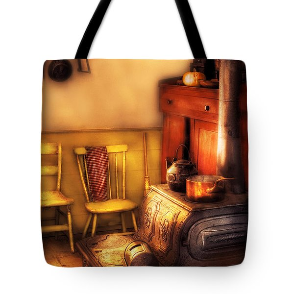 Stove - An Old Farm Kitchen Tote Bag by Mike Savad