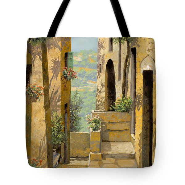 Tote Bag featuring the painting stradina a St Paul de Vence by Guido Borelli