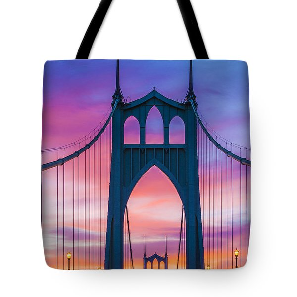 Straight Down The Bridge Tote Bag