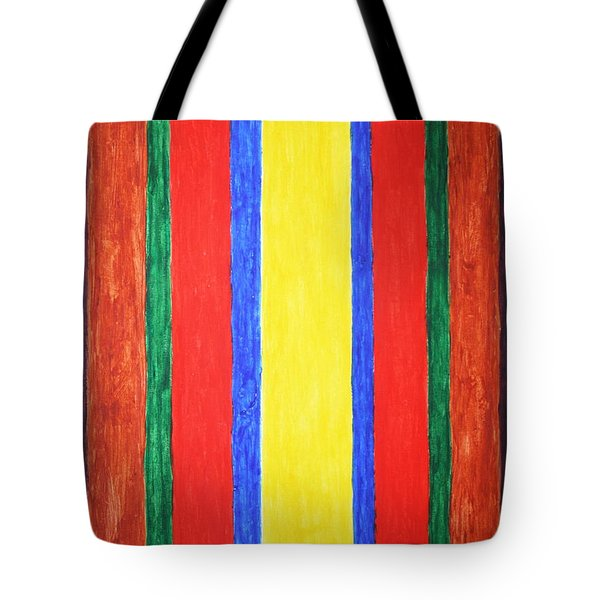 Tote Bag featuring the painting Vertical Lines by Stormm Bradshaw