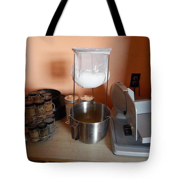 Tote Bag featuring the digital art Straining Kefir by Aliceann Carlton