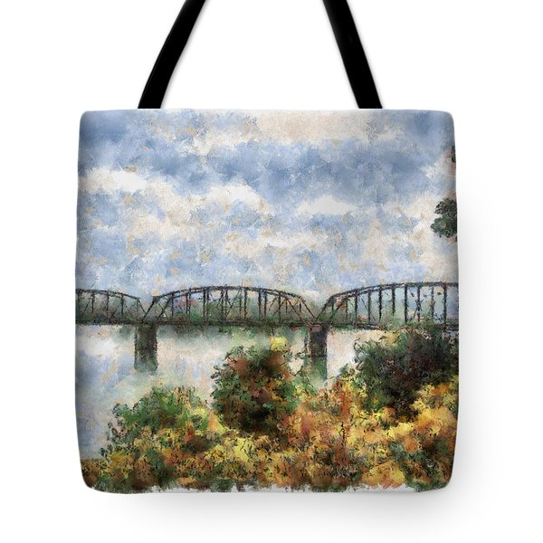 Tote Bag featuring the painting Strang Bridge by Jeffrey Kolker