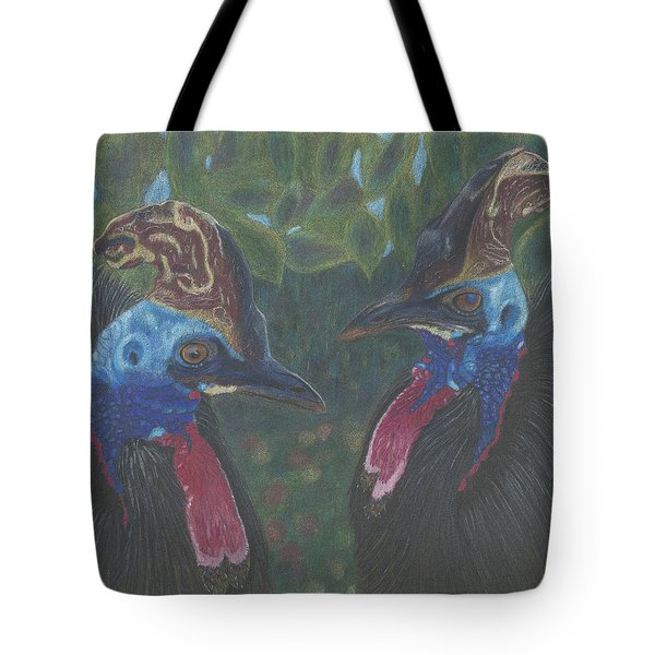 Tote Bag featuring the drawing Strange Birds by Arlene Crafton