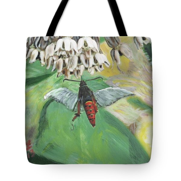 Strange Bug At Flowers Tote Bag