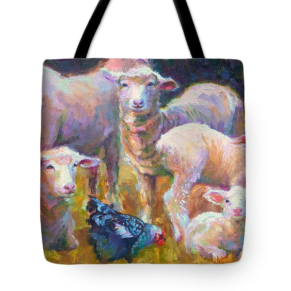 Stranger At The Well - Spring Lambs Sheep And Hen Tote Bag