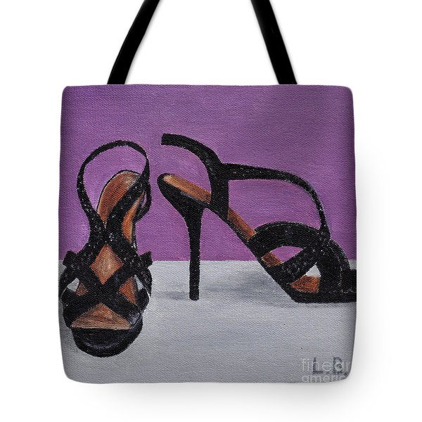 Strappy Black Heels For Maddy Tote Bag