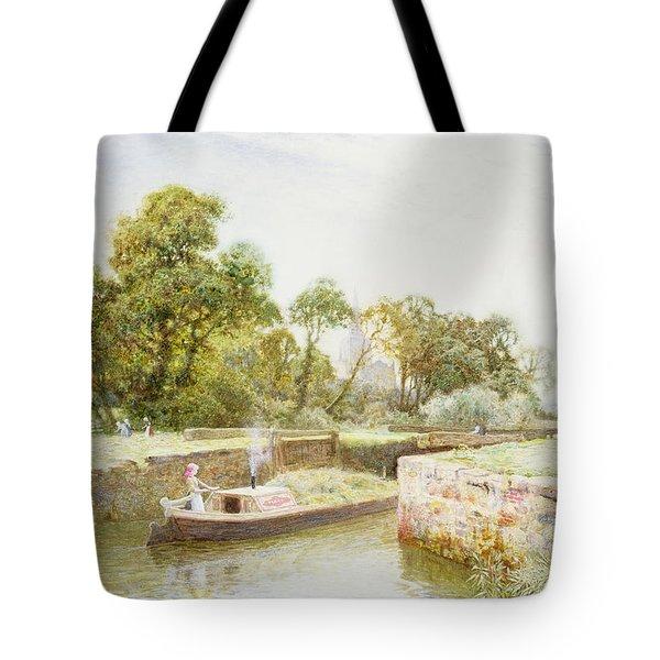 Stratford Lock Tote Bag by Arthur Claude Strachan