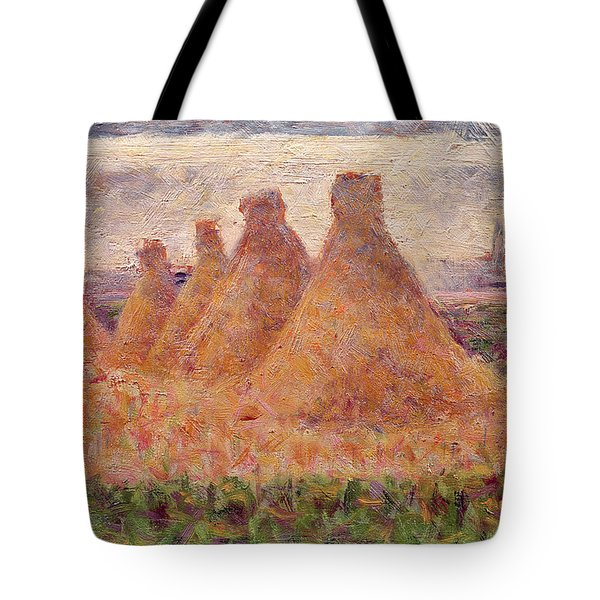 Straw Stacks Tote Bag by Georges Pierre Seurat