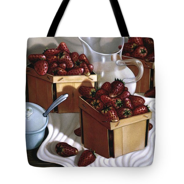 Strawberries And Cream 1997 Tote Bag by Larry Preston