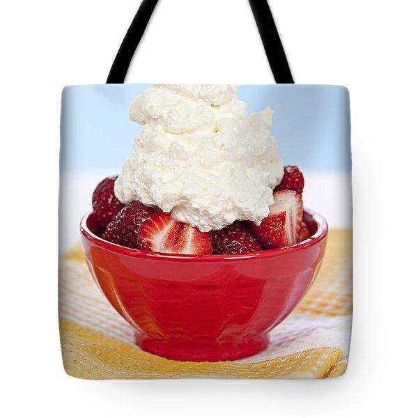 Strawberries And Cream Tote Bag by Elena Elisseeva