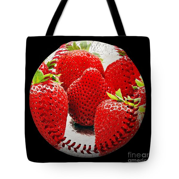 Strawberries Baseball Square Tote Bag by Andee Design
