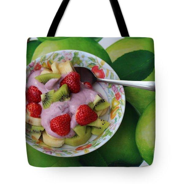 Strawberries Kiwi Banana Yogurt - Fruit - Dessert - Food Tote Bag by Barbara Griffin