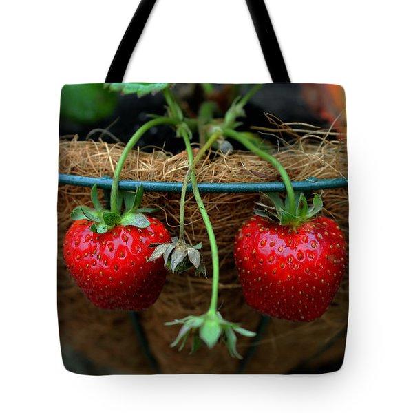 Strawberries Tote Bag by Pamela Walton