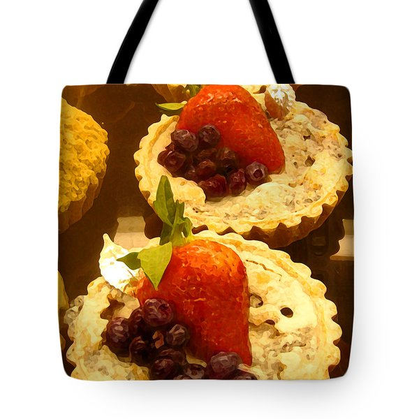 Strawberry Blueberry Tarts Tote Bag by Amy Vangsgard