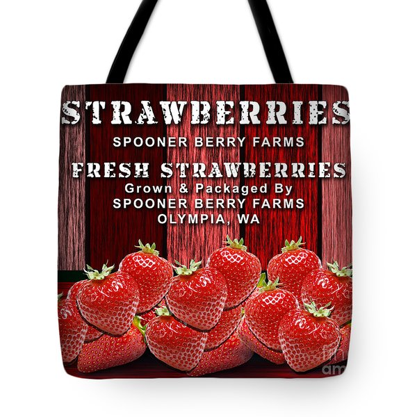 Strawberry Farm Tote Bag by Marvin Blaine
