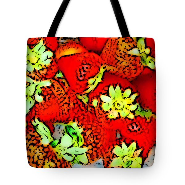 Tote Bag featuring the digital art Strawberry Field by Gayle Price Thomas