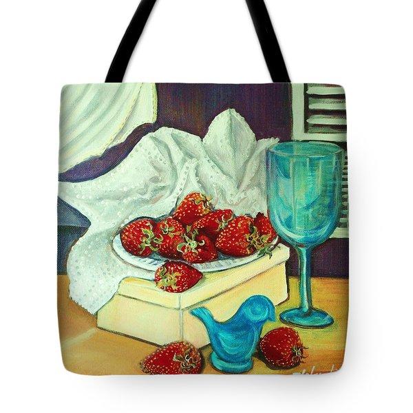Strawberry On Box Tote Bag by Yolanda Rodriguez