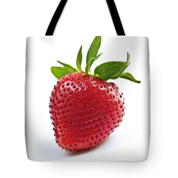 Strawberry On White Background Tote Bag by Elena Elisseeva