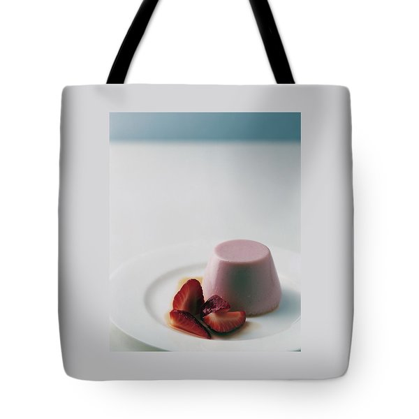 Strawberry Panna Cotta With Strawberry Compote Tote Bag