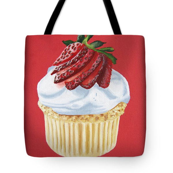 Strawberry White Tote Bag by Kayleigh Semeniuk