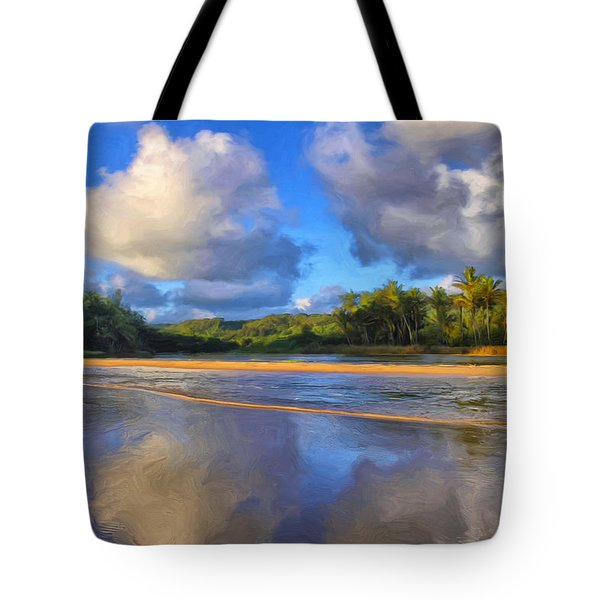 Stream Flowing Into Anahola Bay Tote Bag