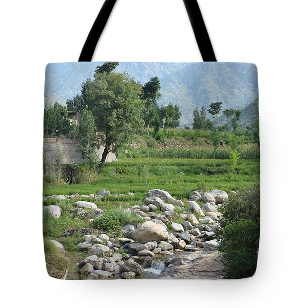Stream Trees House And Mountains Swat Valley Pakistan Tote Bag