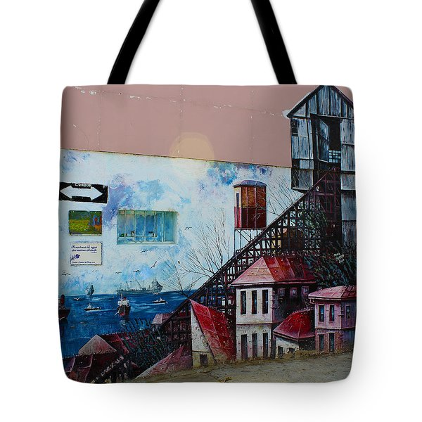 Street Art Valparaiso Chile 17 Tote Bag by Kurt Van Wagner