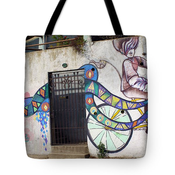 Street Art Valparaiso Chile Tote Bag by Kurt Van Wagner
