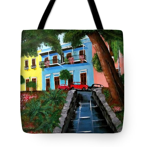 Street Hill In Old San Juan Tote Bag by Luis F Rodriguez