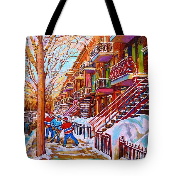 Street Hockey Game In Montreal Winter Scene With Winding Staircases Painting By Carole Spandau Tote Bag