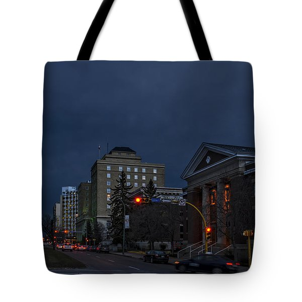 Night Street In Regina Tote Bag